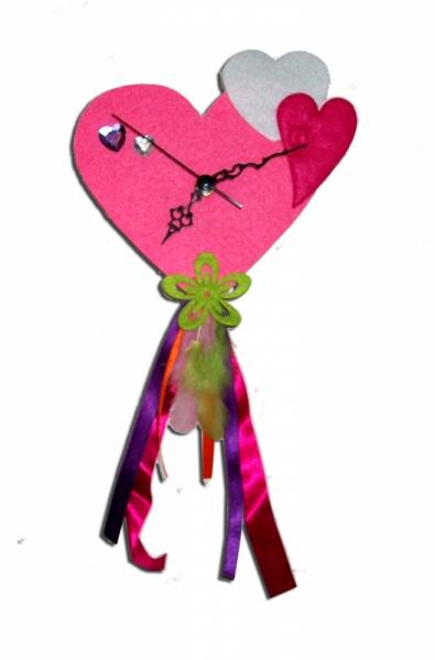 TABLEAU PEINTURE horloge rose fille chambre - Horloge ...