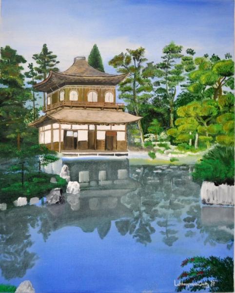 Tableau Peinture Japon Paysage Temple Zen Ginkaku Ji Temple