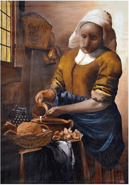 Tableau Peinture Johannes Vermeer La Laitiere Reproduction Copie D Oeuvres La Laitiere