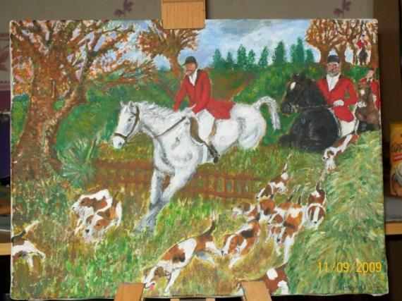 Tableau Peinture La Chasse A Courre