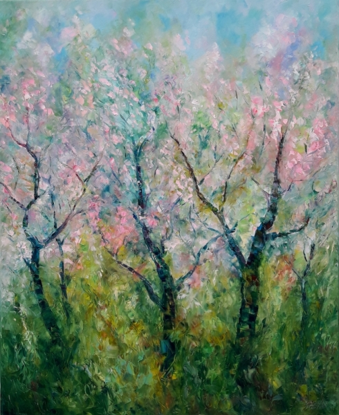 TABLEAU PEINTURE Landscapes, sea and Oil painting Abstract Sakura blossom Paysages Peinture a l'huile  - painting Sakura blossom