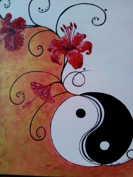 Tableau Peinture Lys Blanc Noir Yang Zen