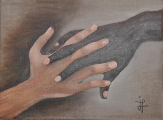 Tableau Peinture Mains Noire Blanche L Amitie Les Mains