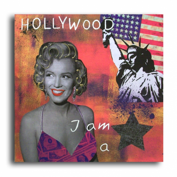 TABLEAU PEINTURE marilyn monroe usa new york design Personnages Collage  - Tableau marilyn monroe usa new york statue rose