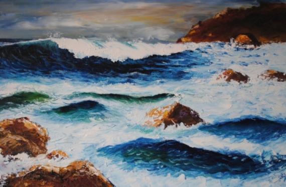 Amante TABLEAU PEINTURE Marine Peinture couteau Vagues Mer - Embruns #RO_05