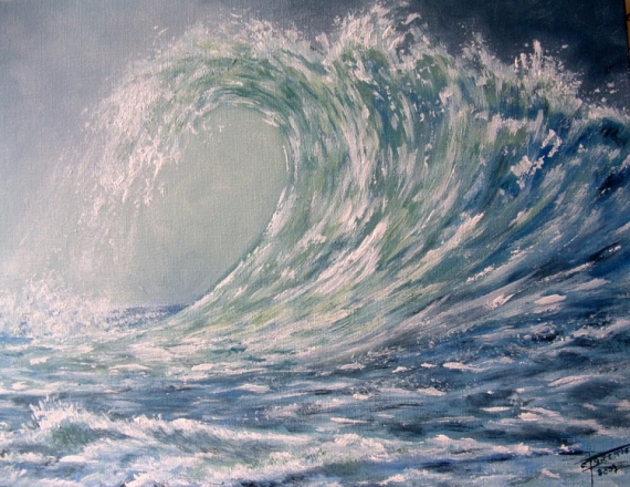 TABLEAU PEINTURE marine vague wave storm Marine  - La vague