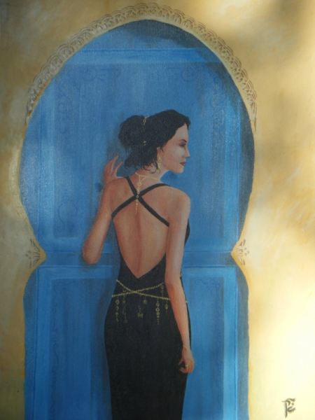 Tableau Peinture Maroc Bleu Portrait Femme Bleu
