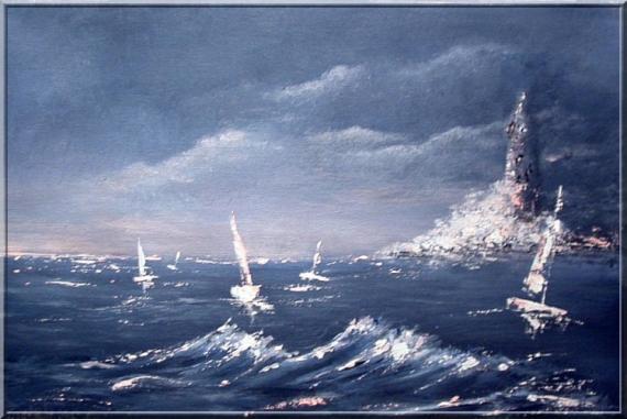 Tableau Peinture Mer Bateaux Phare Bretagne Marine