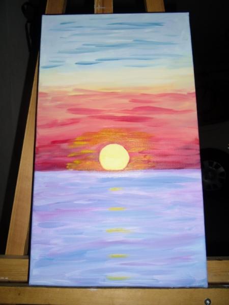 Tableau Peinture Mer Soleil Ciel Triptyque Lever De Soleil