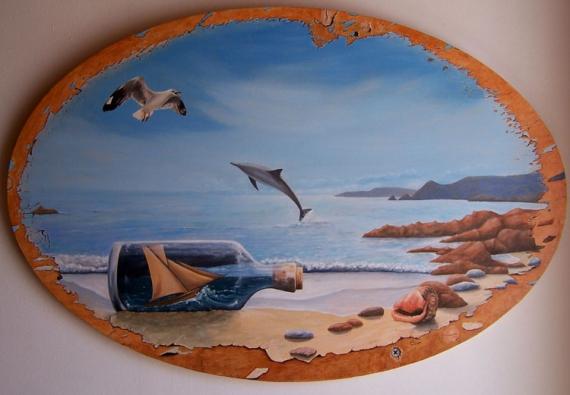 Tableaux Peinture Trompe Oeil tableau peinture mer trompe l'oeil bateau dauphin - les mémoires d