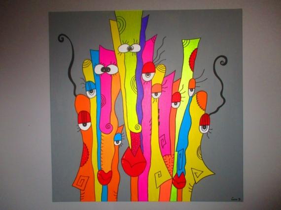 TABLEAU PEINTURE Moderne Contemporain Abstrait Abstrait Acrylique   Happy  Together