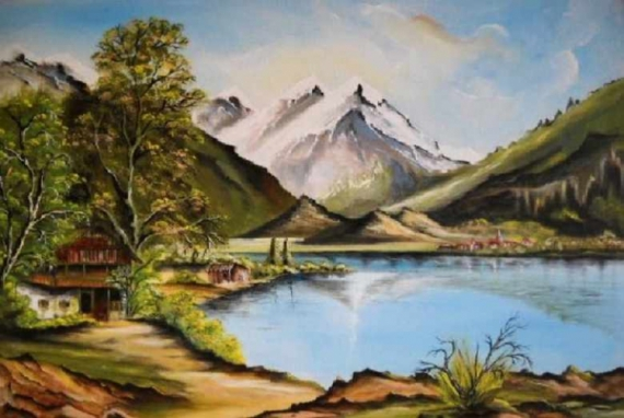Tableau lac et montagne 2 7591314658074caedc2778befa5f26a335632190419242
