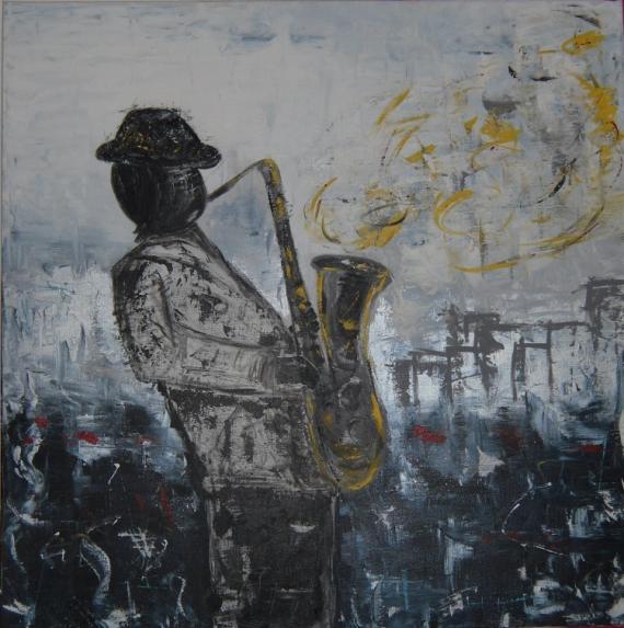 Tableau Peinture Musicien Saxophone Bleu Moderne Un Soir De Jazz