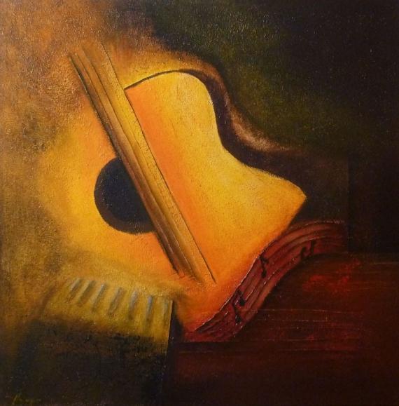 TABLEAU PEINTURE musique guitare abstrait - Musique