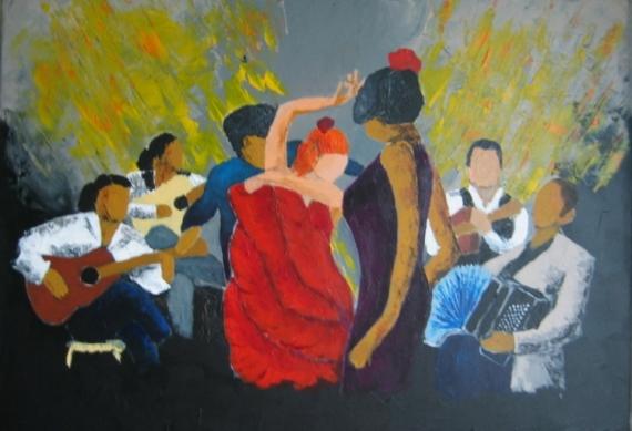 Tableau Peinture Musique Musicien Orchestre Orchestre Flamenco