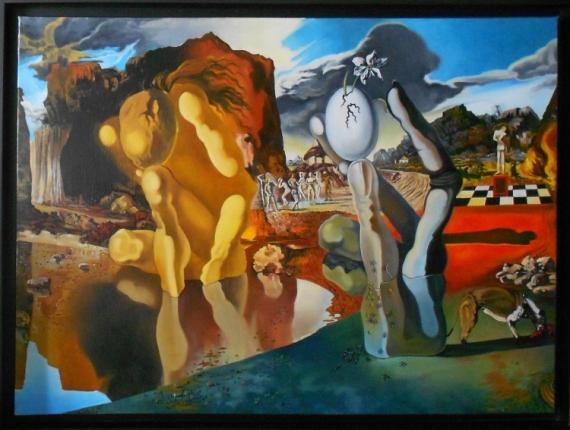 Tableau Peinture Narcisse Metamorphose Dali Paysage Metamorphose