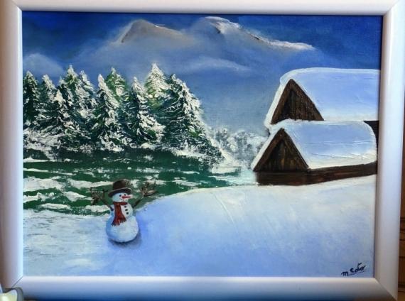 Tableau Peinture Neige Et Montagne Chalet Bonhomme De Neige Noel