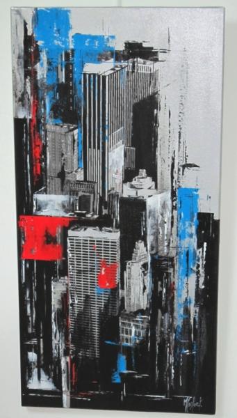 TABLEAU PEINTURE new york bleu contemporain