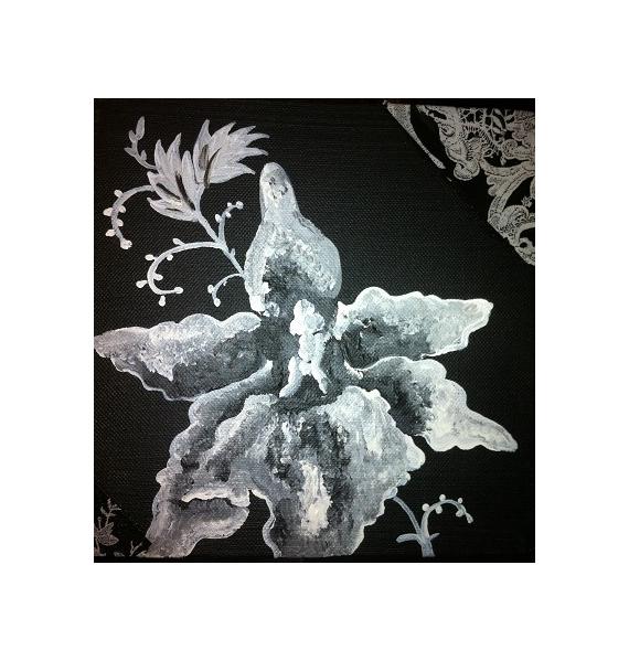 Tableau Peinture Noir Blanc Fleur Orchidée Noir Et Blanc