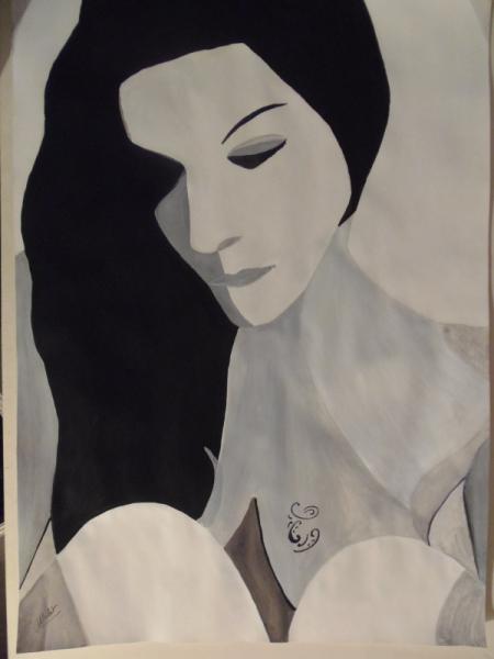 Tableau Peinture Noir Et Blanc Femme Nu Contemporain Femme