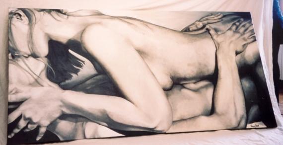 Couple Nu tableau peinture nu couple acrylique noir et blanc - un couple