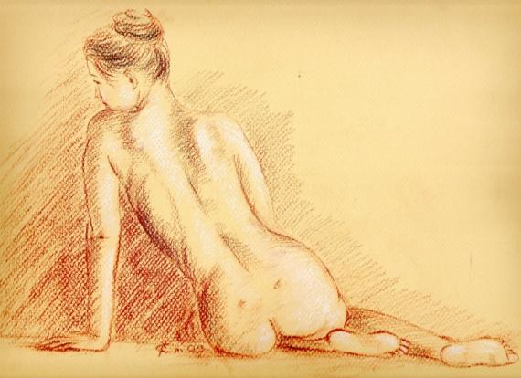 Tableau Peinture Nue Nu Femme Dos Assise De Dos