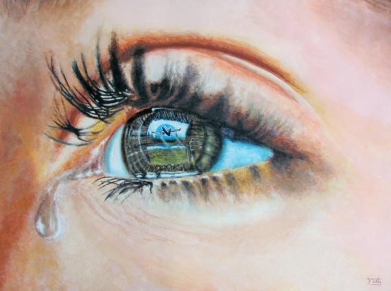 Peinture Dans L Oeil tableau peinture oeil separation sentiments larme - la separation