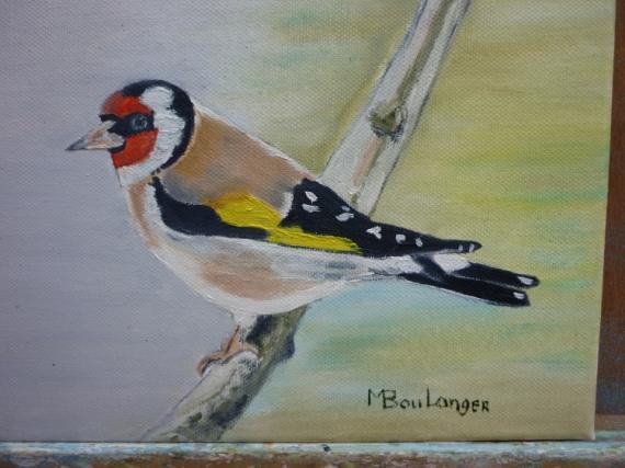 Tableau Peinture Oiseau Couleurs Branche Chardonneret