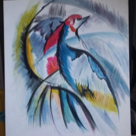 Tableau Peinture Oiseau Moderne Nature Loiseau