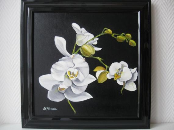 Tableau Peinture Orchidée Blanche Jaune Branche Dorchidées