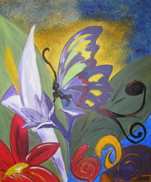 Tableau Peinture Papillon Printemps Fleurs Couleur Printemps