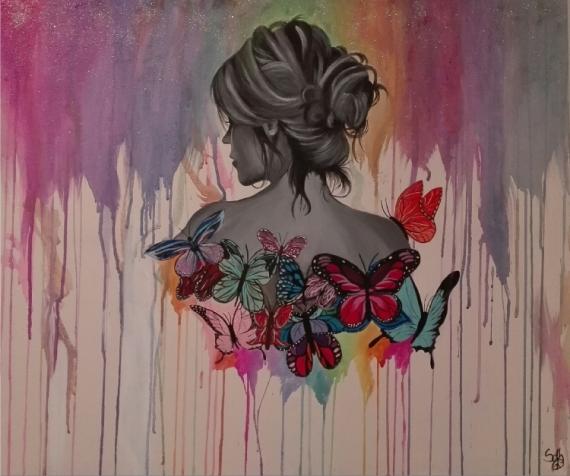 Tableau Peinture Papillons Aquarelle Femme Butterfly Women