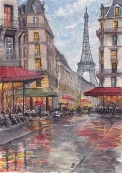 Tableau Peinture Paris La Pluie Tour Eiffel Paris