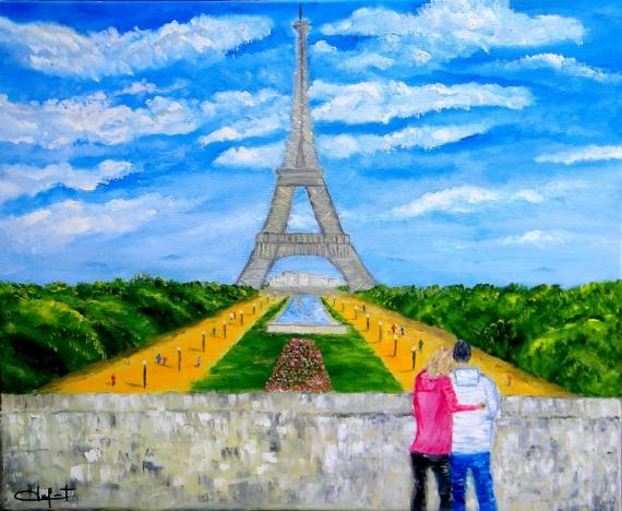 Tableau Peinture Paris Tour Eiffel Romantisme Trocadero Amour