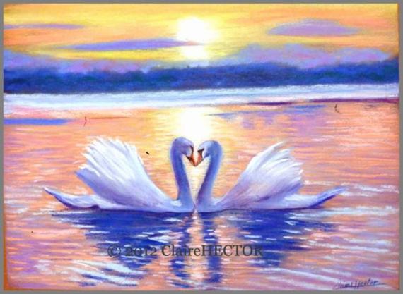 Tableau Peinture Pastel Cygnes Cadeau Mariage Cygnes N3