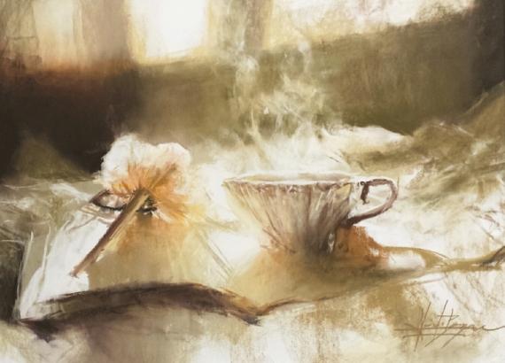 Extraordinaire TABLEAU PEINTURE Pastel sec Nature morte Alexis Le Borgne peinture OL-77