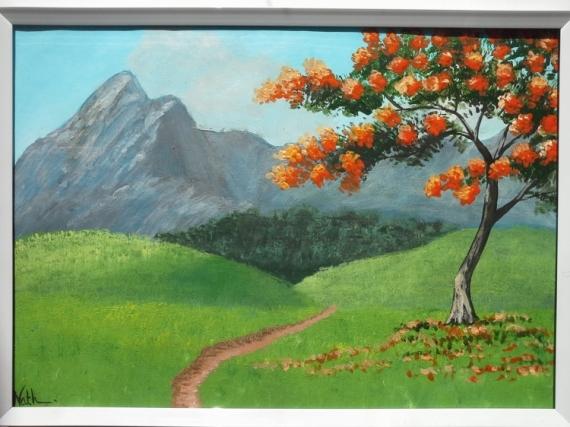 TABLEAU PEINTURE paysage de montagne arbre