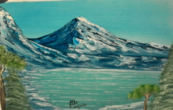 TABLEAU PEINTURE paysage montagne lac hiver