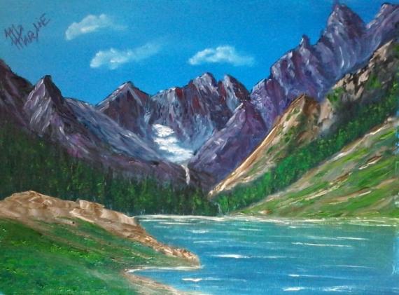 TABLEAU PEINTURE paysage montagne lac Pyré