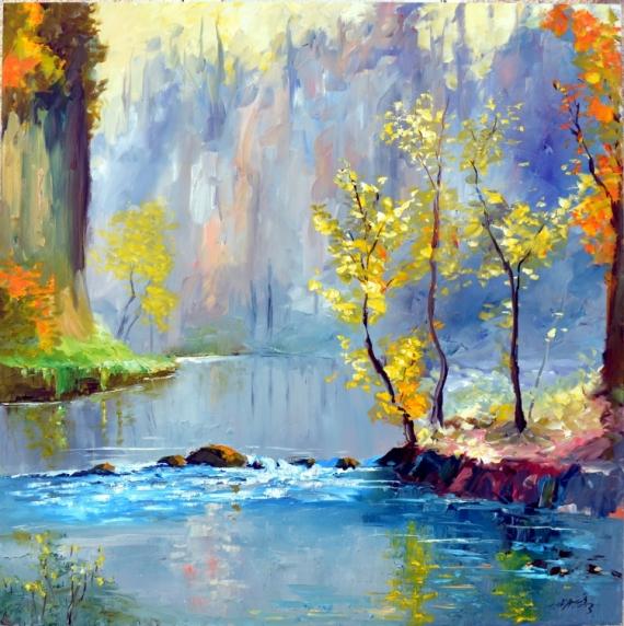TABLEAU PEINTURE paysage rivière moderne
