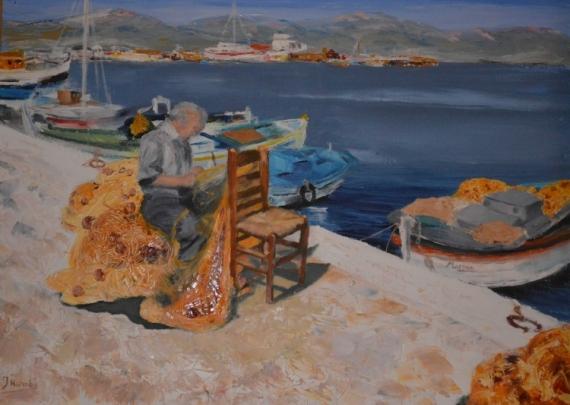 Superbe TABLEAU PEINTURE Peinture couteau Mer Paysage Pêcheur - Pêcheur grec &XK_15
