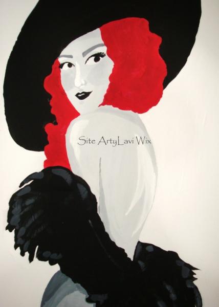 Tableau Peinture Peinture Femme Chapeau De Dos La Dame Au Chapeau