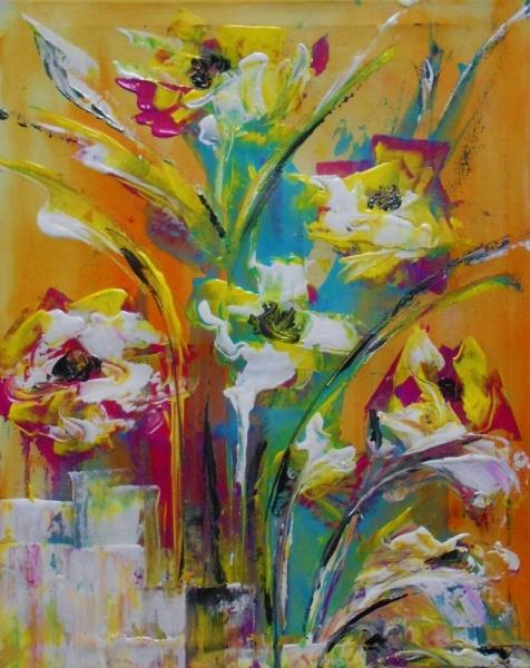 Tableau Peinture Peinture Fleurs Flor Contemporain Abstrai Moderne