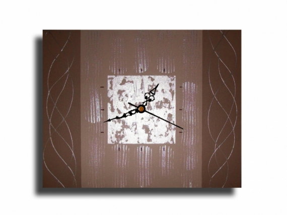 Tableau Peinture Pendule Horloge Marron Beige Tableau