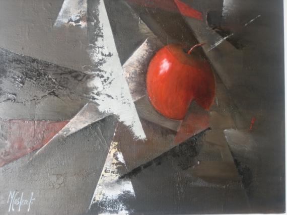 Tableau Peinture Pomme Rouge Nature Morte La Pomme Cachée