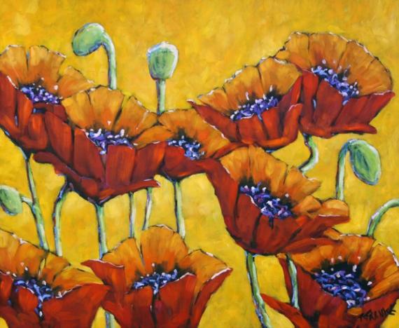 TABLEAU PEINTURE poppies floral coquelicots