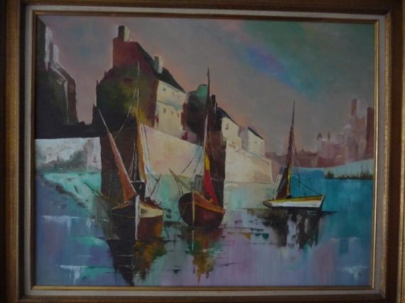 Tableau Peinture Port Anglais Marine 3