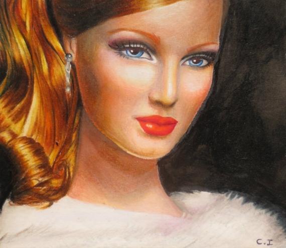 Tableau Peinture Portrait Belle Femme Rousse Jeune Femme Rousse Du