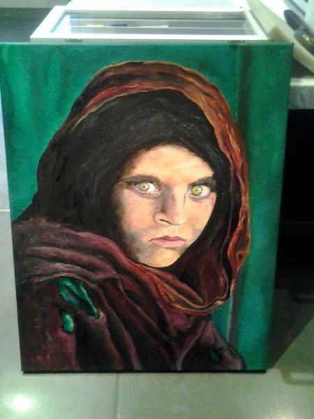 Tableau Peinture Portrait Femme Afghane Fille Afghane Sharbat Gula