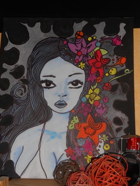 TABLEAU PEINTURE portrait femme graffiti pop Hypnotic eyes